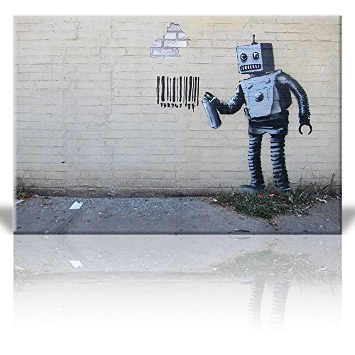 - Wall26 - Canvas Print Wall Art - Robot Spray Paint Barcode - Street Art - Guerilla - Banksy Street Artwork on Canvas Stretched Gallery Wrap. Ready to Hang - 24 x 36 inches