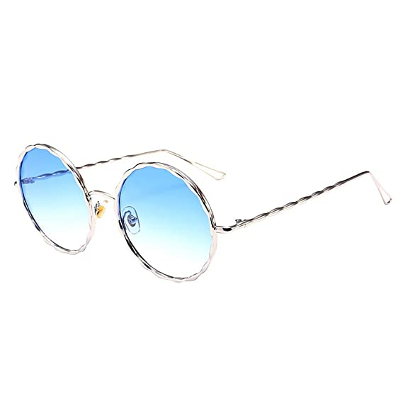 Amazon.com: CapsA Round Polarized Sunglasses Mirrored Lens ...