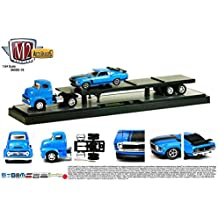 1956 FORD C-500 COE (Blue) & 1970 FORD MUSTANG BOSS 302 (Blue) Auto-Haulers Release 16 M2 Machines 2015 Castline Premium Edition 1:64 Scale Die-Cast Vehicle Truck & Set (15-11)