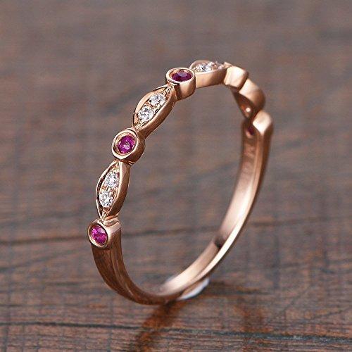 Ruby Wedding Band Rose Gold Diamond Engagement Ring Stacking Ring Half Eternity Ring Bridal Set Promise Ring