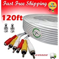 WennoW 120ft White Audio Video & Power RCA Cable for Qsee Zmodo Security CCTV Camera