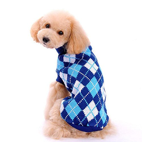 Bolbove Pet Argyle Knitted Turtleneck Sweater for Small Dogs & Cats Knitwear Cold Weather Outfit (Deep Blue, (Dog Elf Outfit)