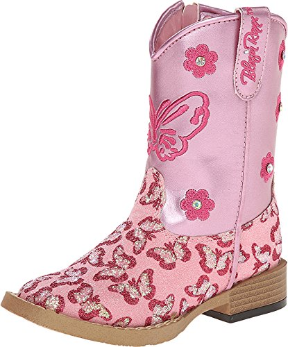 Blazin Roxx Girls' Pecos Glitter Zipper Cowgirl Boot Square Toe Pink 10 D(M) (Pink Cowgirl Boots Toddler)