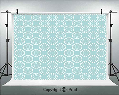 Aqua Photography Backdrops Ethnic Tribal Sun Flower with Dots Geometric Vintage Hippie Round Art Image Decorative,Birthday Party Background Customized Microfiber Photo Studio Props,5x3ft,Seafoam and W
