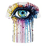 NEWCOSPLAY Colorful 3D Printed Short Sleeve T-Shirt Fashion Couple Tees (L=US M, Digital Eye)