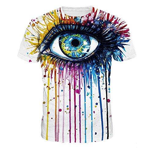 - NEWCOSPLAY Colorful 3D Printed Short Sleeve T-Shirt Fashion Couple Tees (XL, Digital Eye)