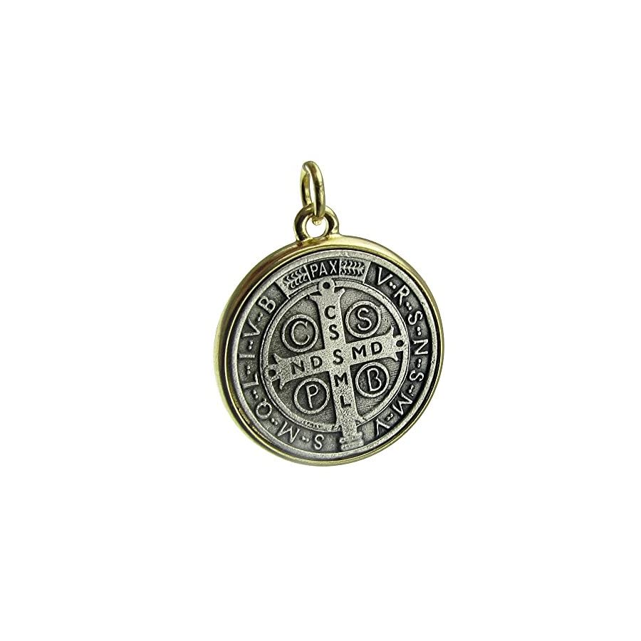 Bling Cartel Medalla De San Benito Saint St Benedict Two Tone Medallion Antiqued Silver & Gold Finish 35mm Medal