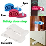 YCDC 4 Pack Rubber Door Stoppers & Holders, for All Floor Surfaces, Free 4Pcs Stick-On-Wall Snail Door Stoppers - White