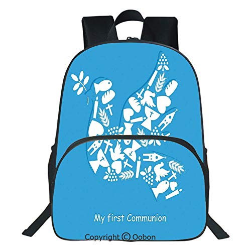 (Oobon Kids Toddler School Waterproof 3D Cartoon Backpack, First Communion Sacramento Reminder Fellowship Traditional Ceremony Art, Fits 14 Inch)
