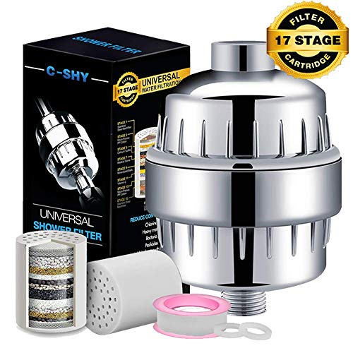 Fantastic Deal! 17-Stage Shower Filter for Hard Water with Vitamin C and Resin - Include 2 Replaceme...