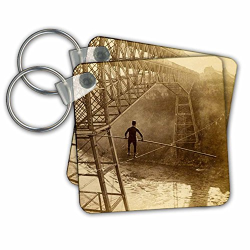 Scenes from the Past Vintage Stereoview Cards - Samuel Dixon crossing Niagara Falls Cantilever Bridge tightrope 1890 - Key Chains - set of 6 Key Chains (kc_269999_3)