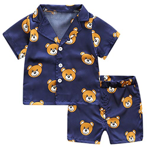 Boys Pajama Set, 2 Pieces Bear Print Button Up Pajamas Shirt + Boxer Sleepwear Shorts Set for Toddler & Little Boys Girls, Bear Navy, 4-5Y = Tag 120]()