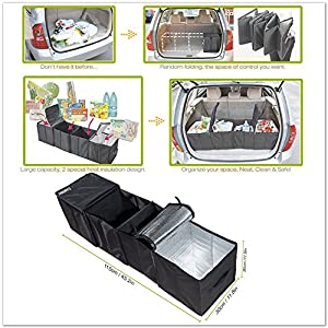 Deler Foldable Multi Compartment Fabric Car Truck Van SUV Storage Basket Trunk Organizer and Cooler Set
