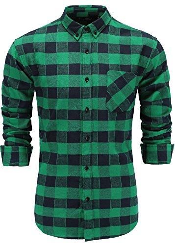 Emiqude Men's Flannel 100% Cotton Slim Fit Long Sleeve Button-Down Plaid Dress Shirt XL Navy Green ()