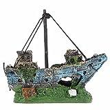 OWIKAR Aquarium Resin Rockery Pirate Ship Vessel Hiding Cave Fish Tank Decor Ornament Landscape Small