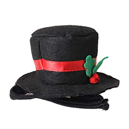 73c33706390 Amazon.com   Sannysis Christmas Black Gentleman Top Hat Pet Cat Dog Hat  Small Clothing Accessories   Pet Supplies