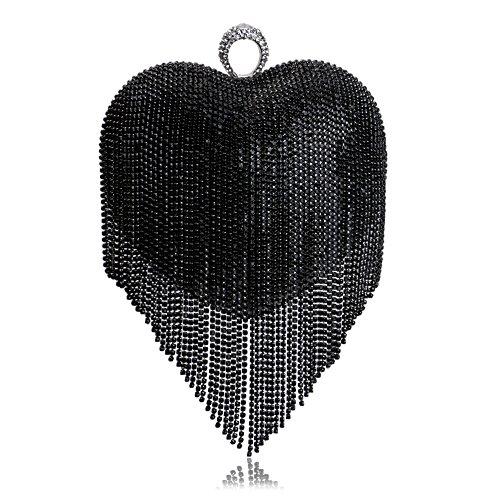 Evening Bag Exquisite Bag Hand GROSSARTIG Luxury Ladies Heart Evening Black Banquet Tassel Holding Bag Peach 0qqUYwF
