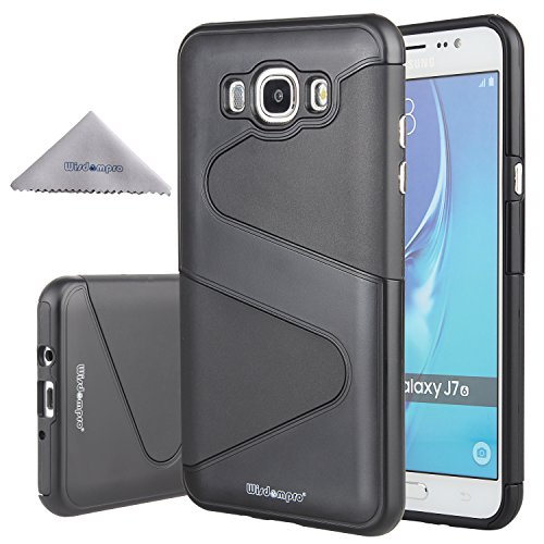 Toughskin Black Case - Galaxy J7 (2016) Case, Wisdompro [Heavy Duty] 2 in 1 Hybrid Shockproof Protective Case (Hard S-Line PC Shell + Soft TPU Inlay) for Samsung Galaxy J7(2016)(NOT fit 2015 Edition) - Black / Black