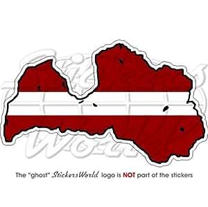 Letonia Letón map-flag Riga 4.7(120mm) vinilo Bumper, adhesivo
