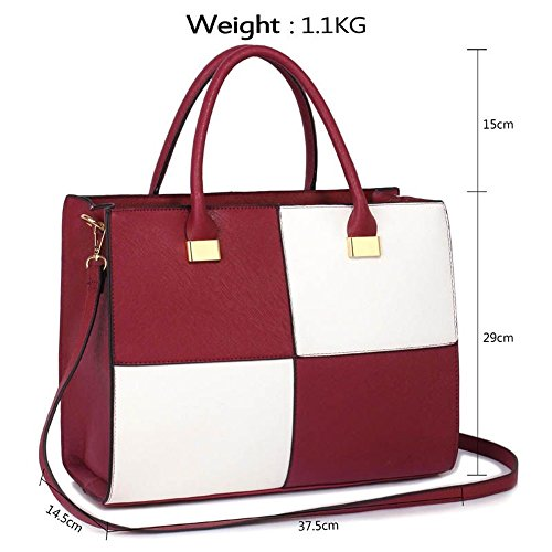 Faux Ladies XL SIZE Style Quality Quality Bag XL Bags Handbag Tote WHITE Celebrity CWS00153XL Designer Fashion BURGUNDY Women's Leather aEwdx5x1q