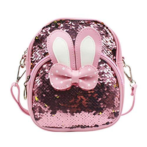 Little Girls Bling Sequin Mini Backpack Purse Rabbit Ears Glitter Daypack Small - Purse Sequin Mini