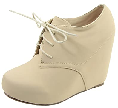 d39dc51c50c Anna Shoes Women s Hidden Platform Wedge Heel Lace Up Ankle Bootie (8.5 B(M
