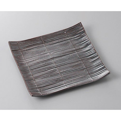 [mkd-318-3-71e] Corner Moriya Iron sand Snare Square plate (with a hama) [18 x 18 x 2.7 cm] Ryotei Ryokan Japanese-style machine For eating and drinking business -