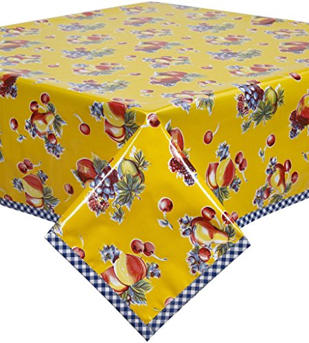 Retro Yellow Oilcloth Tablecloth with Blue Gingham Trim Y...