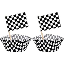 TecUnite 100 Pieces Checkered Flag Race Flag Cupcake Topper Picks and 100 Pieces Race Flag Cupcake Wrapper Paper Baking Cup Covers for Cake Decorations, Black and White