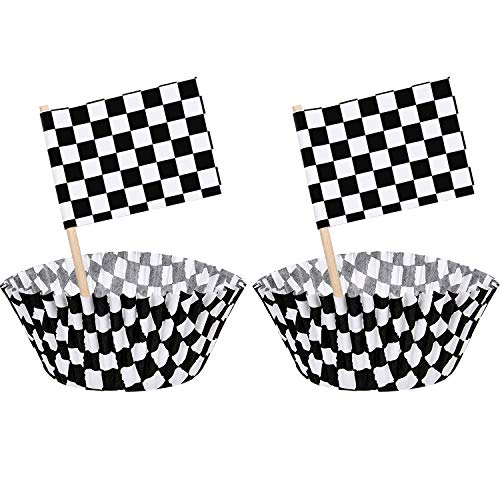 100 Pieces Checkered Flag Race Flag Cupcake Topper Picks and 100 Pieces Race Flag Cupcake Wrapper Paper Baking Cup Covers for Cake Decorations, Black and White (Style 1) ()