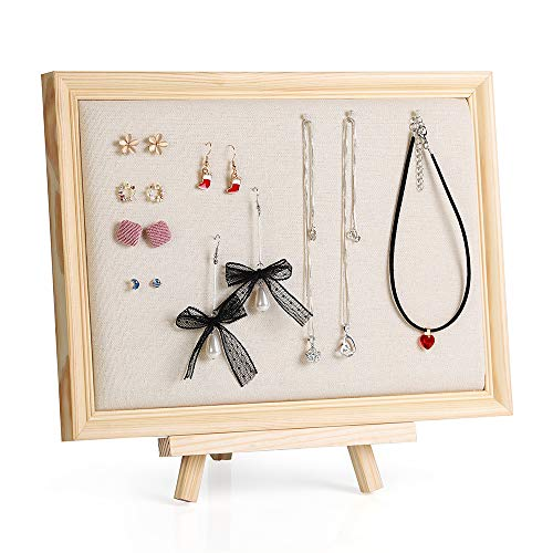 LIANTRAL Jewelry Organizer Jewelry Frame Adjustable Bracket Holder Linen Pad for Earrings Necklace Display Organizer with Pearl Pins 12.6
