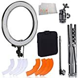 "Ultimaxx Camera Photo/Video 18""/ 48cm Outer 55W 240PCS LED SMD Ring Light 5500K Dimmable Ring Video Light with Plastic Color Filter Set + Mini Ball Head Hot Shoe Mount Adapter"