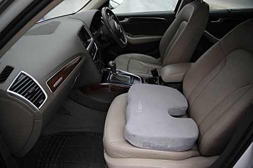 Coccyx Memory Foam Seat Cushion - Orthopedic Memory Foam Office Chair and Car Cushion for Back Support, Tailbone and Sciatica Pain Relief, Washable Cover by Spinex Cushions (Image #1)