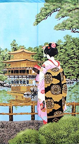 Cosmos noren Japanese Curtain Maiko Geisha Kinkaku-ji 85 x 150