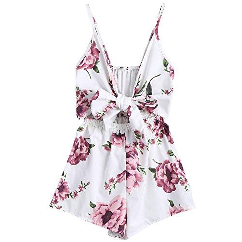 Dressin Women Jumpsuit Deep V-Neck Boho Floral Print Sleeveless Sling Loose Short Pants Playsuits Romber White