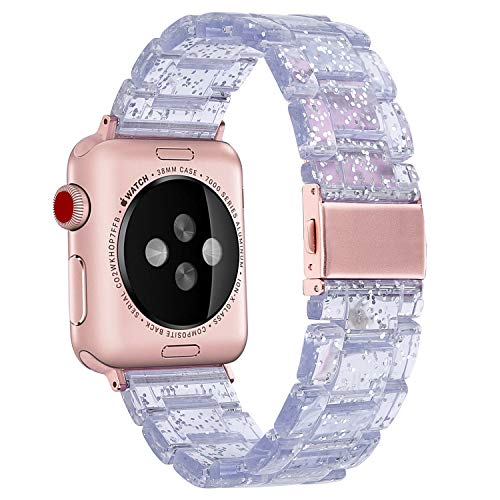 Band Plastic Link (V-MORO Resin Band Compatible with Apple Watch Bands 42mm 44mm iWatch Series 4/3/2/1 with Stainless Steel Buckle Lightweight Replacement Bling Transparent Wristband Strap Women Men(Light Blue, 42/44))