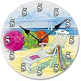 "Mini Wall Clock 5 O'Clock Somewhere Beach Theme 8"" Diameter"