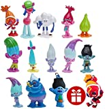 PantShop Trolls dolls Set of 12pcs and 2pcs Keychains,Trolls Cake Decorating Set,DreamWorks Trolls Action Figures