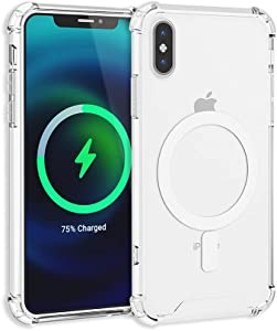 TORU MX Slim Magnetic Clear Compatible with iPhone Xs Case, iPhone X Case - Transparent Protective Bumper & Anti-Yellow Hard Cover with Wrist Strap Designed for Magsafe Charging - Crystal Clear