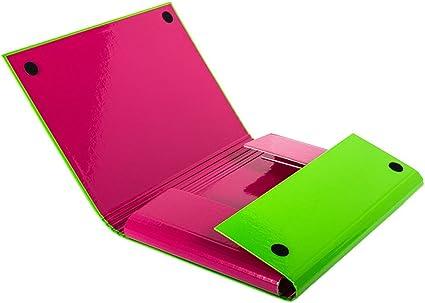 5 x Verde – Rosa Carpeta cierre de velcro Caja de almacenaje de ...