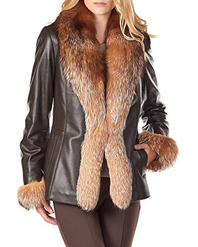 Crystal Fox Fur Jacket - frr Leather Crop Jacket with Crystal Fox Fur - Small