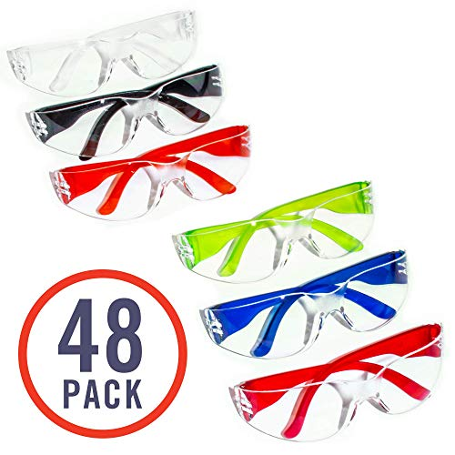 48 Pack of Safety Glasses (48 Protective Goggles in 6 Different Colors) Crystal Clear Eye Protection - Perfect for Construction, Shooting, Lab Work, and More!