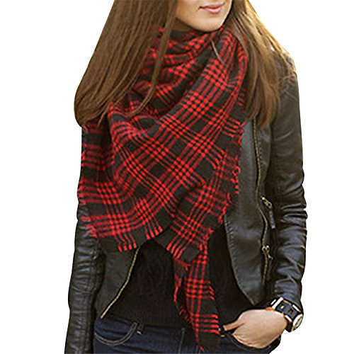 Bess Bridal Women's Plaid Blanket Winter Scarf Warm Cozy Tartan Wrap Oversized Shawl Cape (One Size, Red and ()