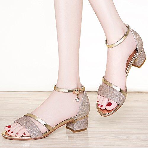 De con Negrita La Heeled Alumnas SHOESHAOGE con Eu39 Palabra La Mujer Zapatos Hebilla De Sandals High EU34 En zCnxqX6
