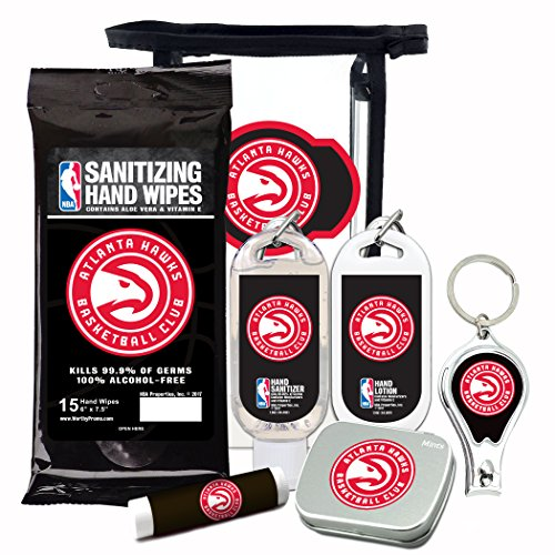 Atlanta Hawks 6-Piece Fan Kit with Decorative Mint Tin, Nail Clippers, Hand Sanitizer, SPF 15 Lip Balm, Hand Lotion, Sanitizer Wipes. NBA Gifts for Men and Women By Worthy