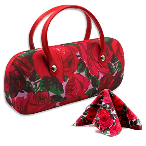 Floral Eyeglass case with Handles women small Sunglasses case with Cloth, fit Small to Medium frames by Rachel Rowberry (AS12TG Vintage Rose)