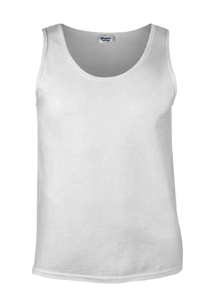 e85fc0b868 Plain Gildan Cotton Blank Oversized Tshirt T-Shirt White Men Vest Tank Top:  Amazon.co.uk: Clothing