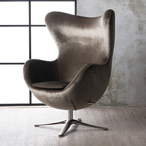 Gadot Grey New Velvet Modern Swivel Chair