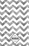 "GM&Co: Notebook Journal Dot-Grid, Lined, Graph, 120 pages 5.5""x8.5"": Smoke Grey Chevron (Chevron Notebook)"