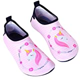 Anddyam Girls and Boys Quick-Dry Outdoor Water Shoes Aqua Socks Shoes for Beach Pool Surf Yoga Exercise (US Little Kid (6-8 Years), Unicorn Pink)
